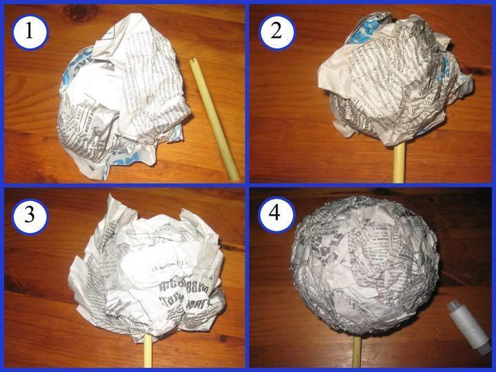 Основа для кроны топиария из мятых газет делается шаг за шагом, каждый слой накладывается отдельно