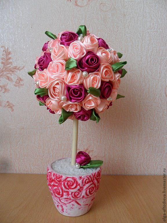 Топиарий из лент – это стильный интерьерный декор или нежный подарок, сделанный своими руками