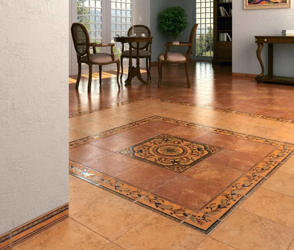 Панно из керамической плитки смотрится практично, нарядно и оригинально