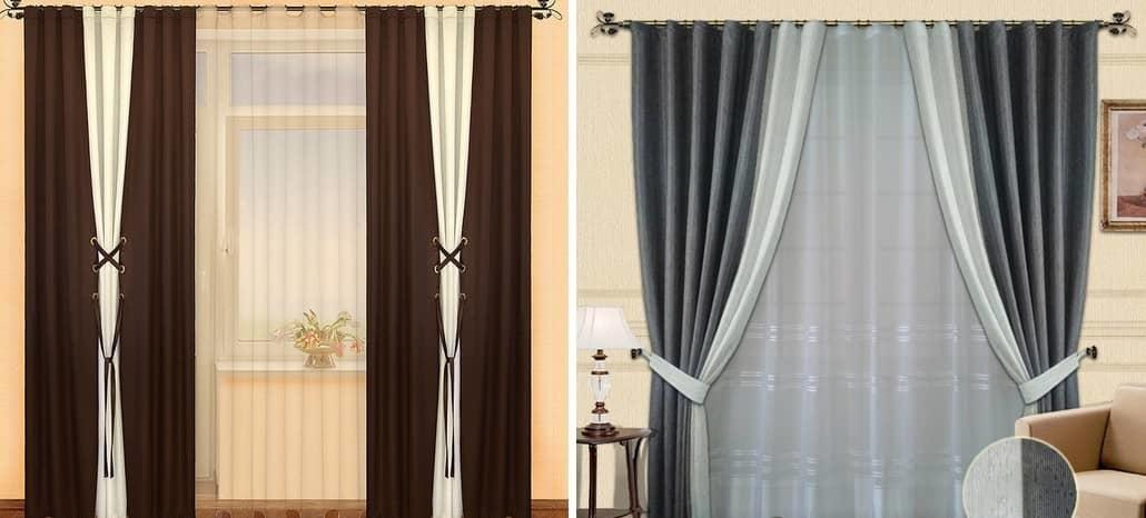 Как скомбинировать шторы двух цветов фото