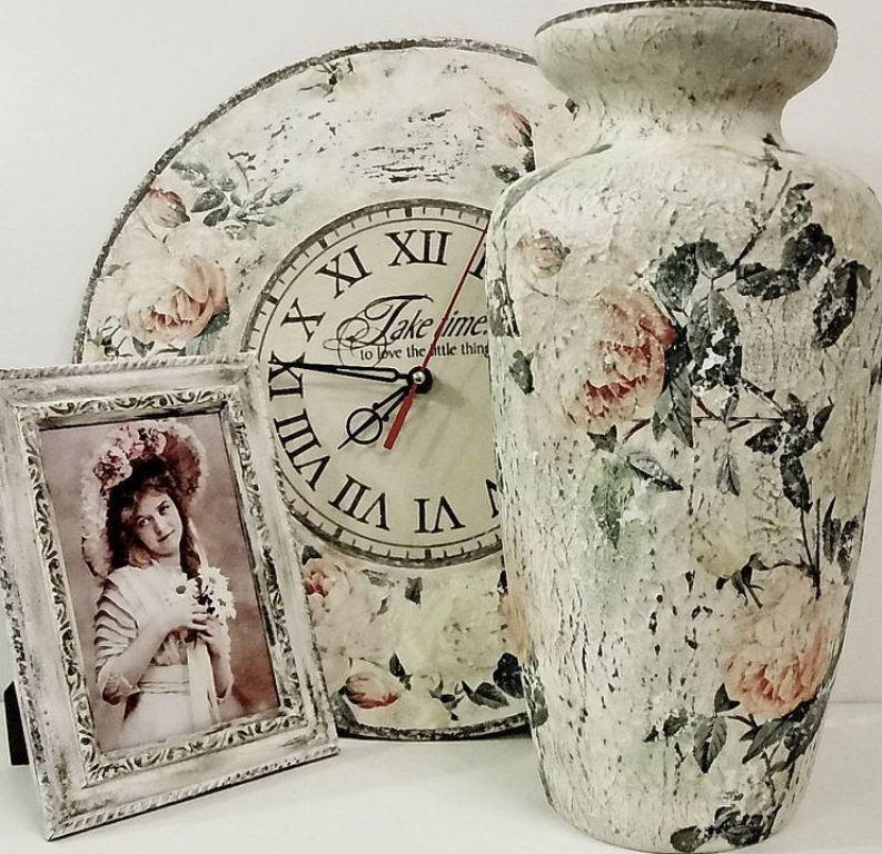35ae2c98ab8e7f65586e7ea55a26--dlya-doma-interera-vaza-shebbi-shik Декупаж стеклянной вазы: мастер-класс и пошаговая инструкция, как за декорировать сосуд своими руками