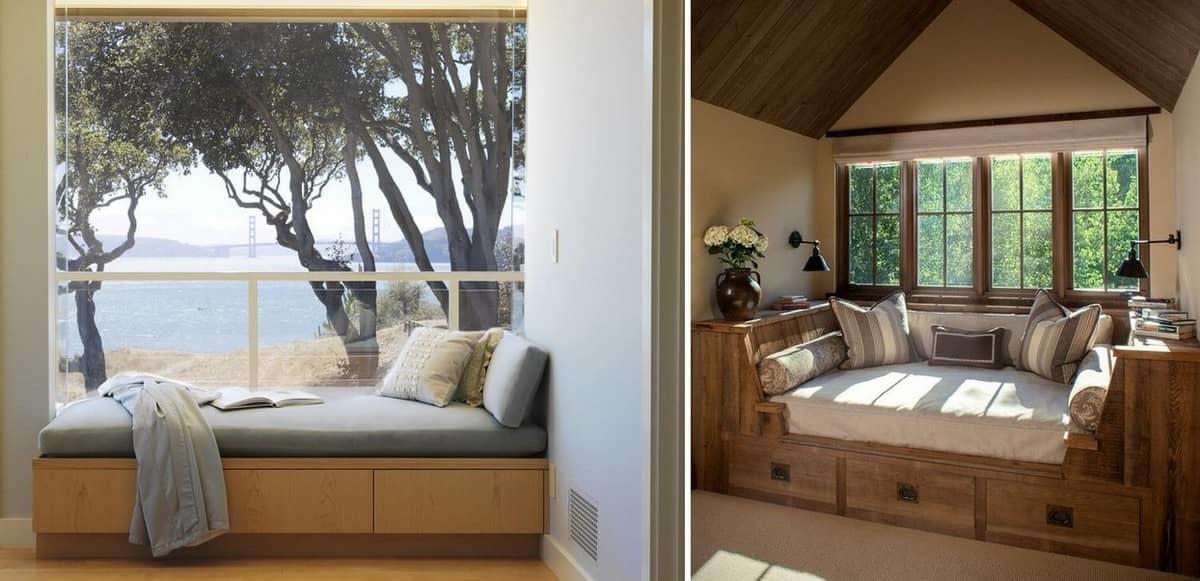 Спальное место у окна — превосходный вариант для времяпровождения за книгой или отдыхом