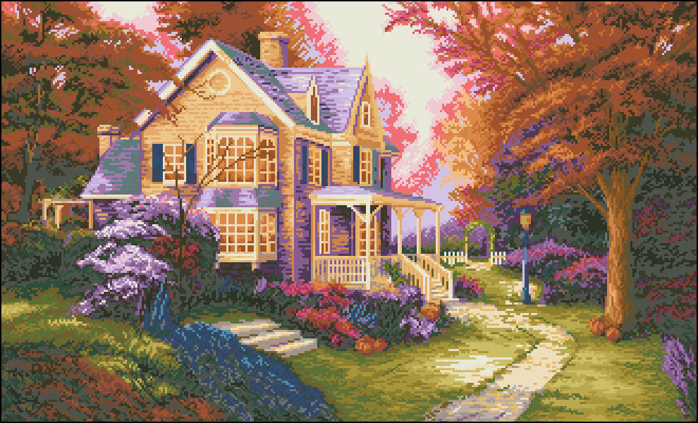 Наиболее популярным вариантом для вышивания является рисунок с небольшим уютным домиком на фоне лесного пейзажа