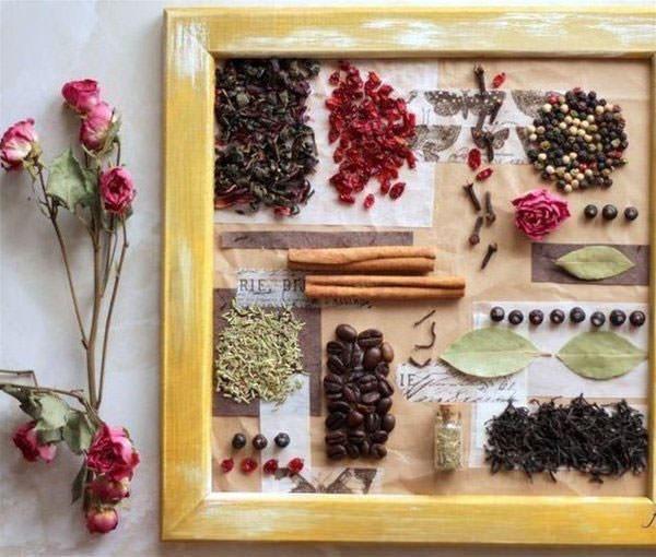 Как правило, коллаж для кухни состоит из фруктов, овощей и цветов