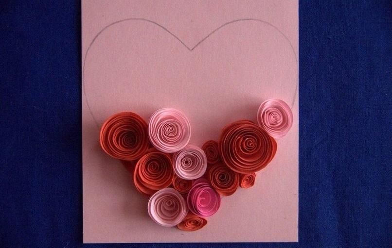 Как можно сделать открытку с розами из бумаги поэтапно, конфет открыток