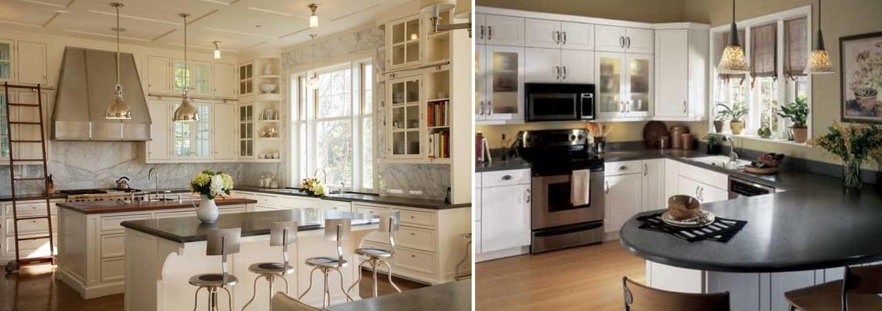 Как правило, на окно посередине кухни вешают жалюзи либо рулонные шторы, они практичны и функциональны