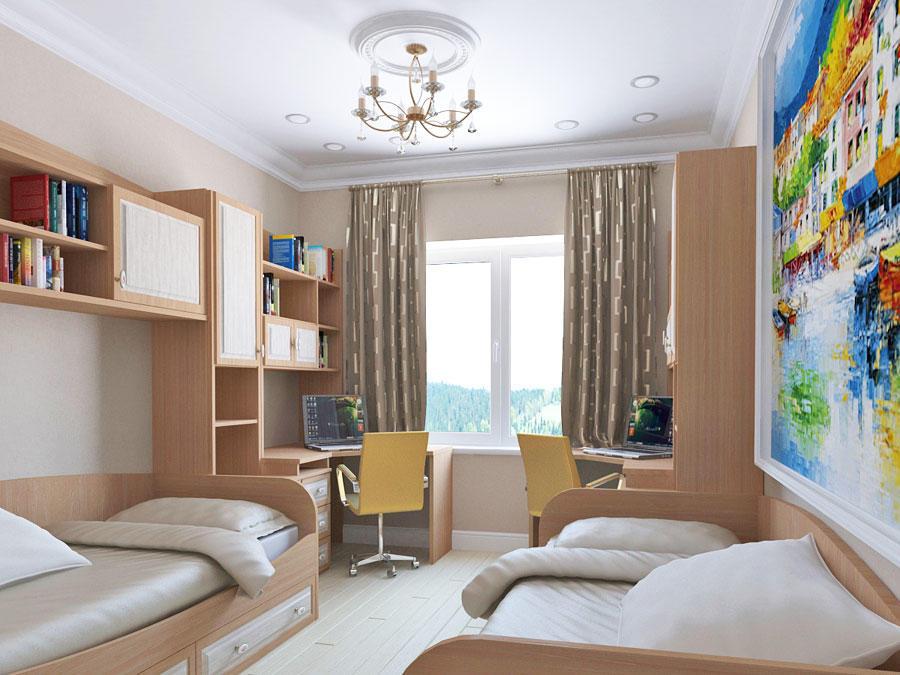 Если вы обустраиваете комнату для двух детей, тогда для оформления лучше подбирать нейтральные тона