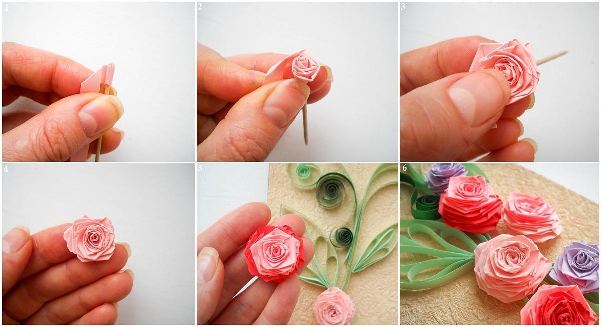 Розы из бумаги для открытки, самому