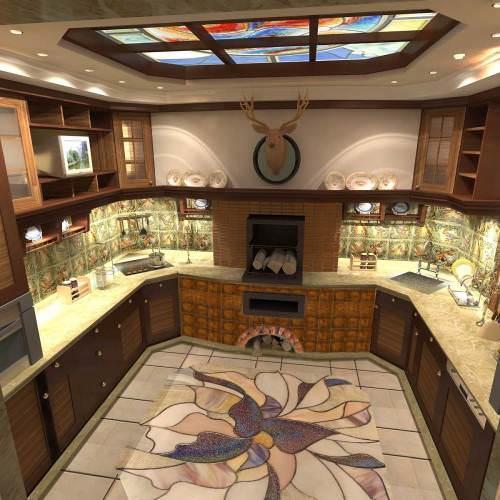 """Печь на кухне может послужить даже главным элементом, вокруг которого будет """"строиться"""" интерьер всей кухни"""