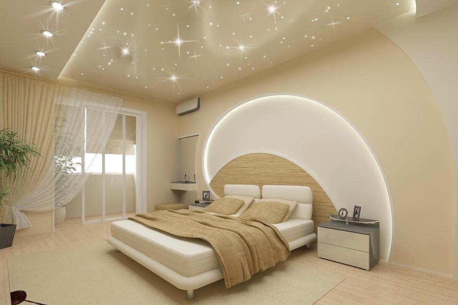 натяжной потолок в спальне дизайн фото шахтинский
