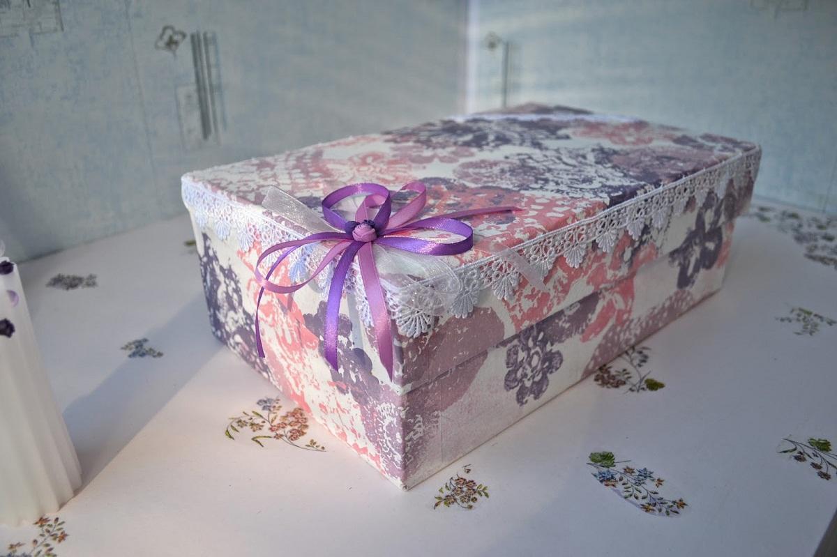 DSC_0109 Декупаж картонной коробки или упаковки из-под обуви своими руками