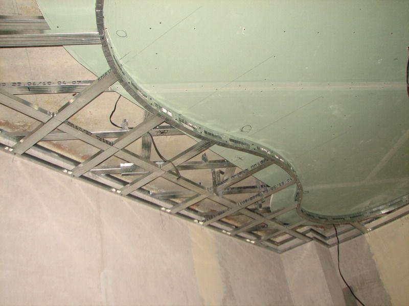 Важным этапом при установке навесного потолка из гипсокартона является монтаж металлического каркаса
