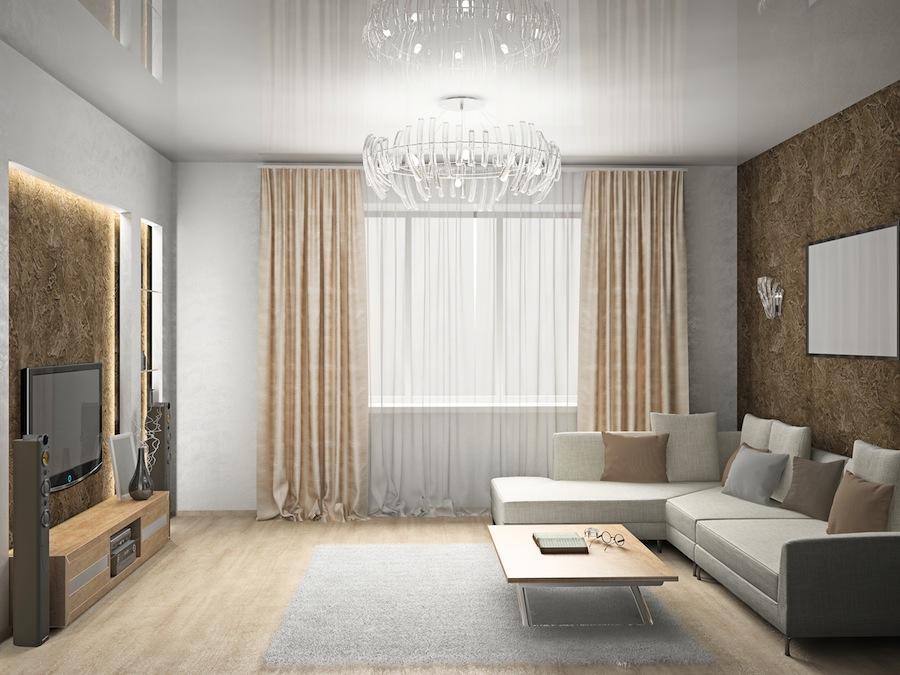 Одноуровневый натяжной потолок смотрится одновременно просто и элегантно