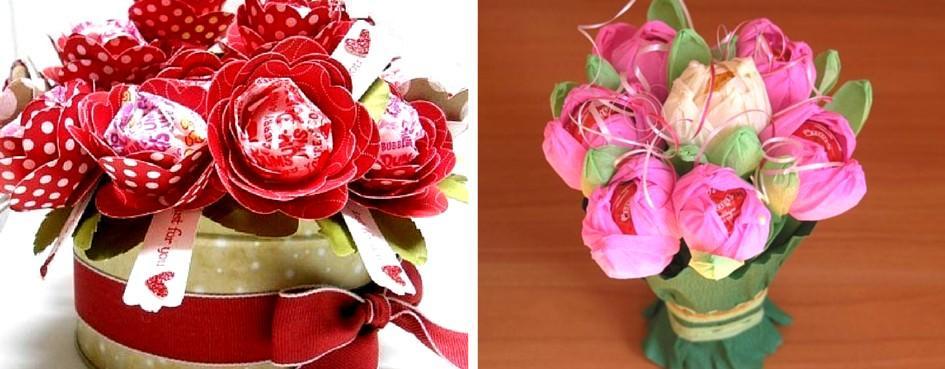 buket_iz_konfet_svoimi_rukami(1)_фcr Топиарий из конфет. Сладкий топиарий: дерево, яблоко, букет и часы из конфет