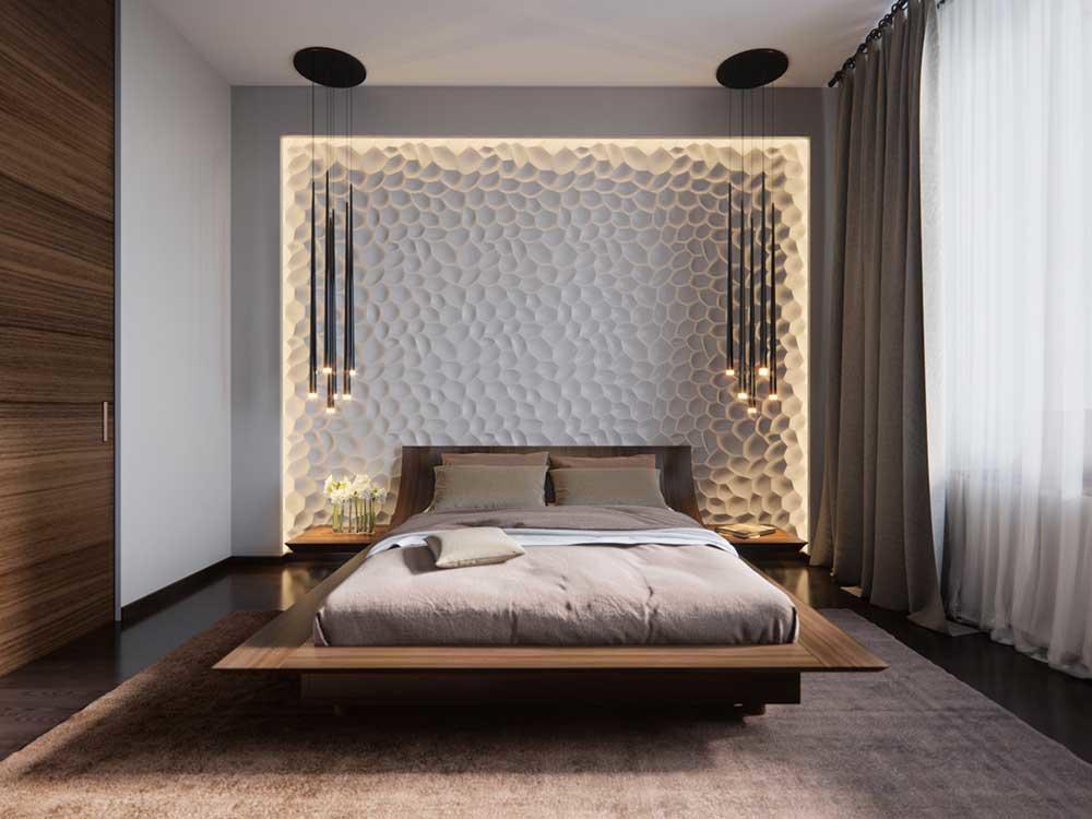 Главное отличие современных спален - это наличие свободного пространства и минимум вещей