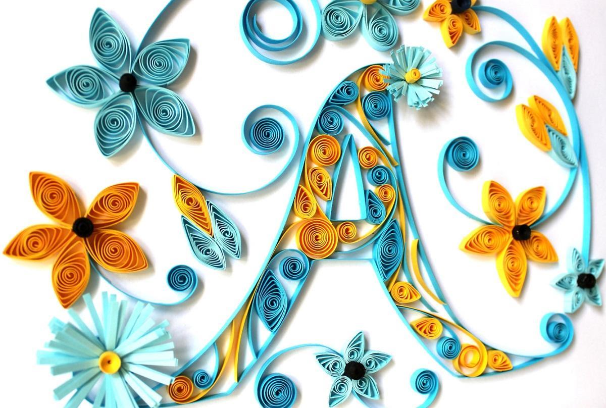 Нежные акварель, квиллинг открытки с буквами