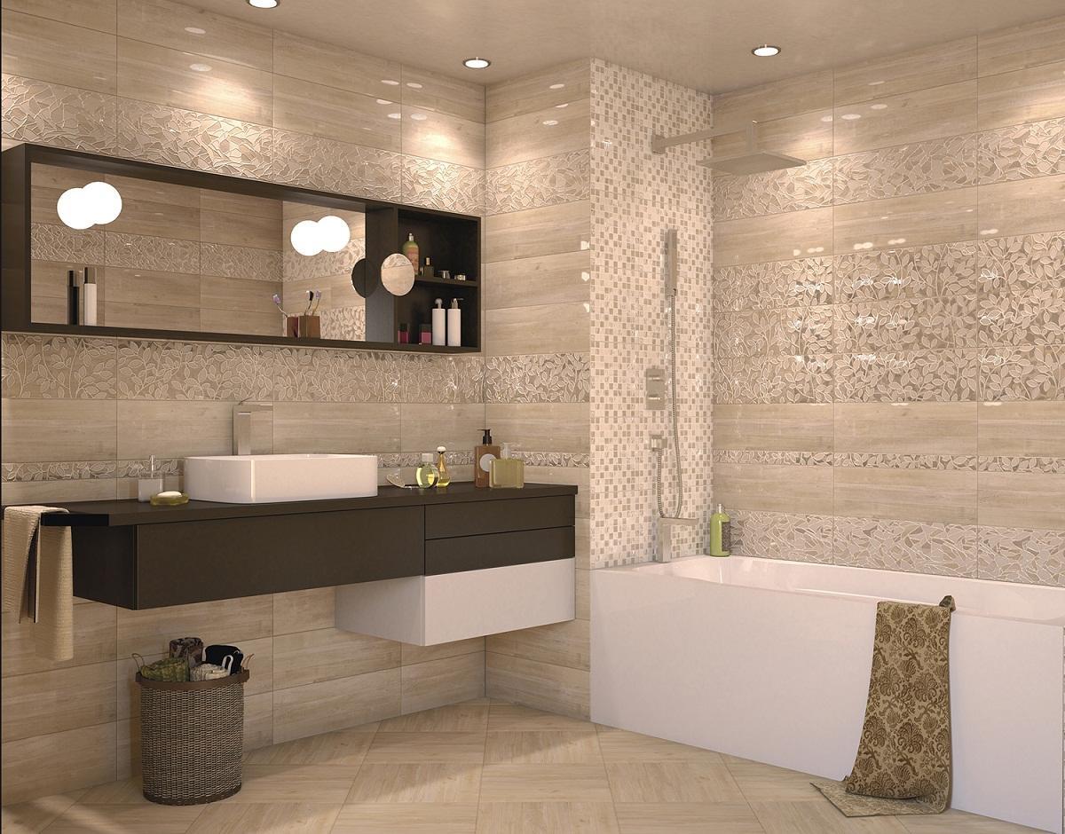 Плитка Интеркерама бежевого цвета способна придать ванной комнате уюта и комфорта