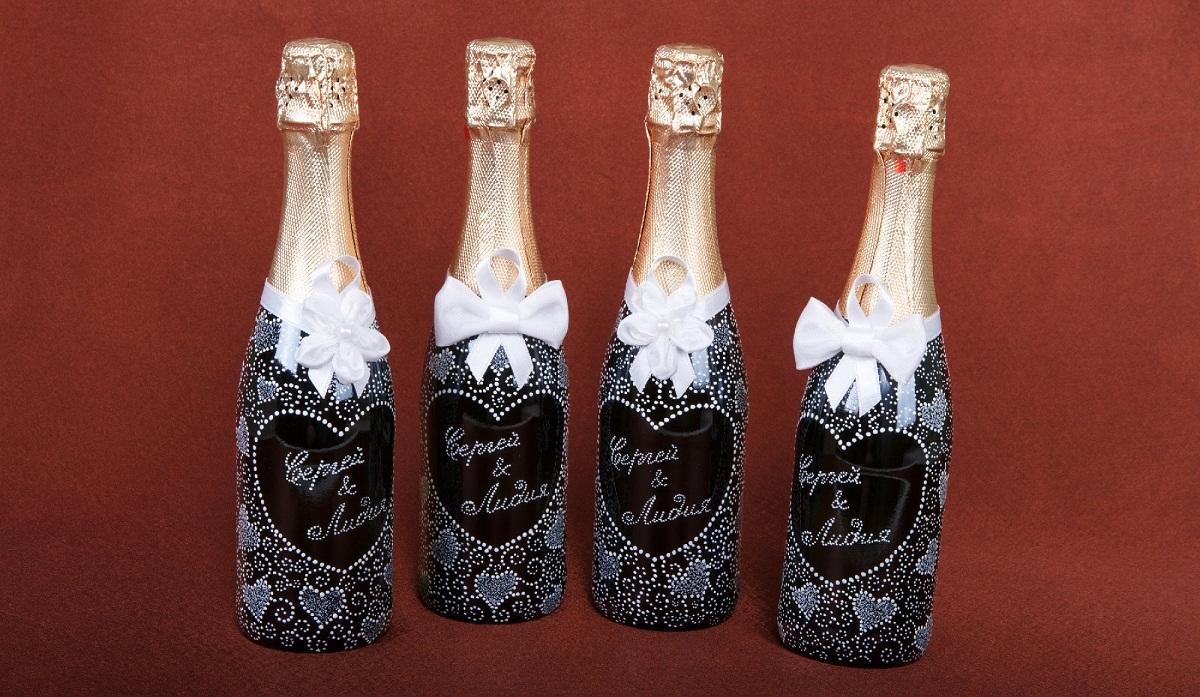 img25 Декупаж бутылки шампанского: свадебные своими руками, пошаговое фото, технику как сделать, МК как украсить