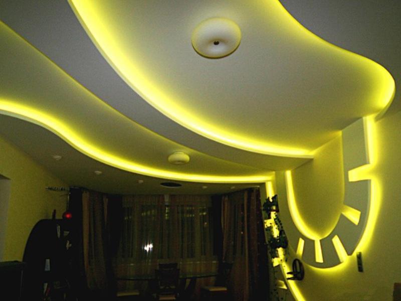 нашу потолок из гипсокартона с диодной подсветкой фото помощью плазмолифтинга лечила