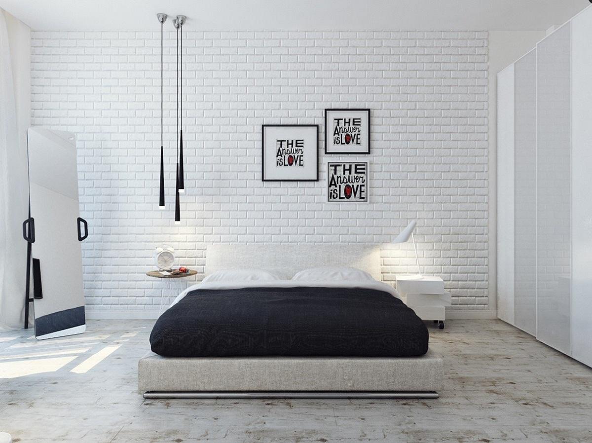 Декоративная кирпичная стена отлично впишется в спальню, которая выполнена в стилей хай-тек