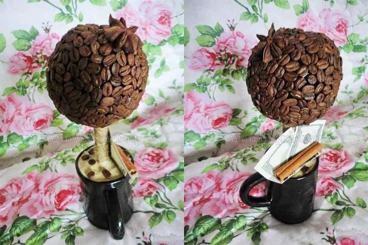 kofejnyj-topiarij-svoimi-rukami Топиарий из шишки: фото мастер класс, из листьев пошагово, своими руками как сделать осенний, из желудей еловых, мк из сосны