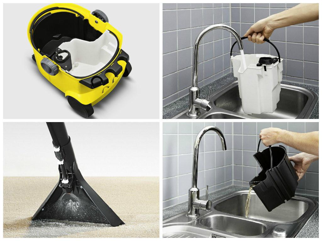 Чтобы пользоваться моющим пылесосом, не нужно иметь особых навыков: следует просто набрать в емкость воды и выполнить уборку