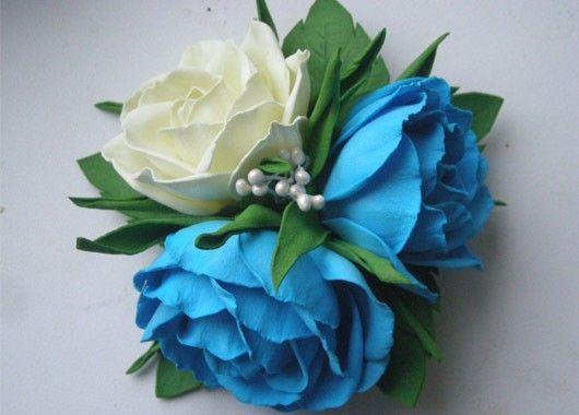 017c0e Заколки из фоамирана: цветы своими руками, фото и для волос мастер-класс, ободок автомат, МК с розой как сделать