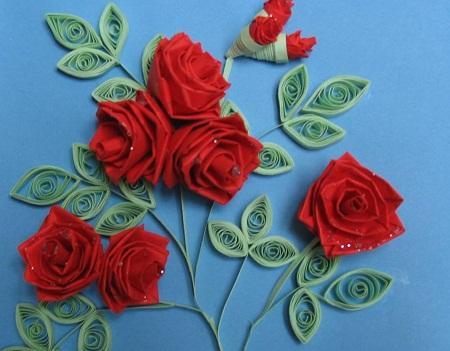 Открытка с розами из квиллинга своими руками