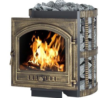 Печь-камин для бани может отличаться по конструкции, форме и размеру