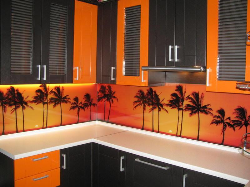 Если предпочитаете на кухне африканский стиль, то без оранжевого цвета будет просто не обойтись