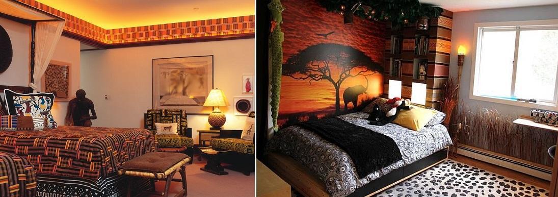 Спальня, оформленная в экзотическом африканском стиле, выглядит ярко, эффектно и самобытно