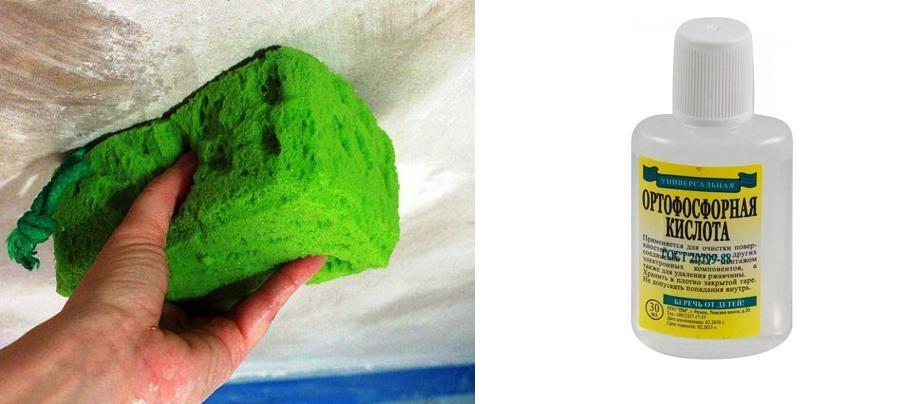 Раствор ортофосфорной кислоты – доступный препарат для удаления копоти с поверхности потолка