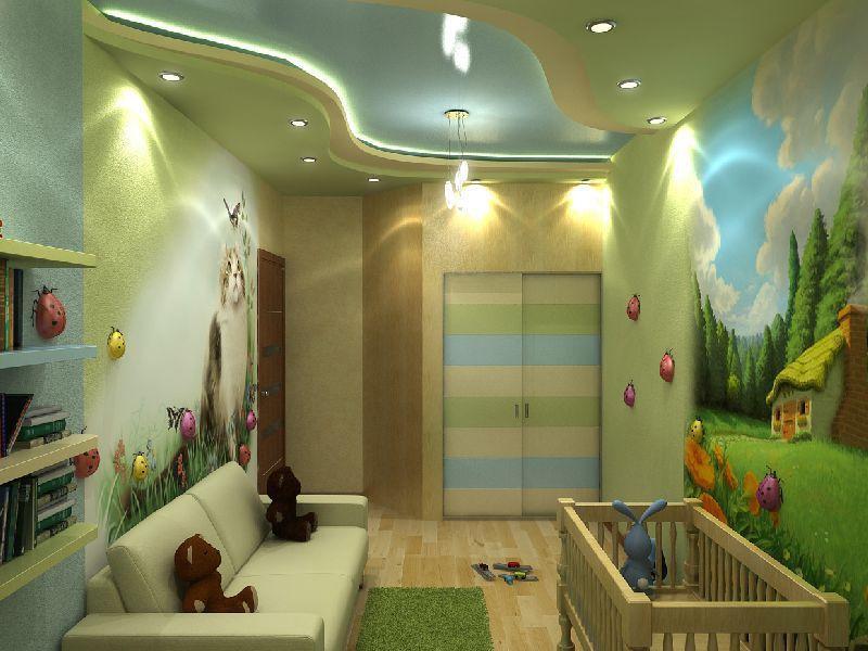 Из гипсокартона на потолке можно сделать креативные узоры, которые обязательно понравятся ребенку