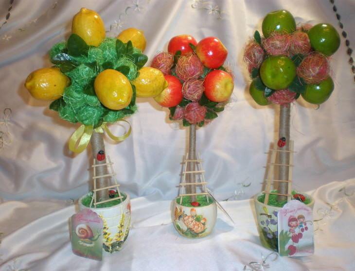 Сделать топиарий можно из любых фруктов, находящихся под рукой