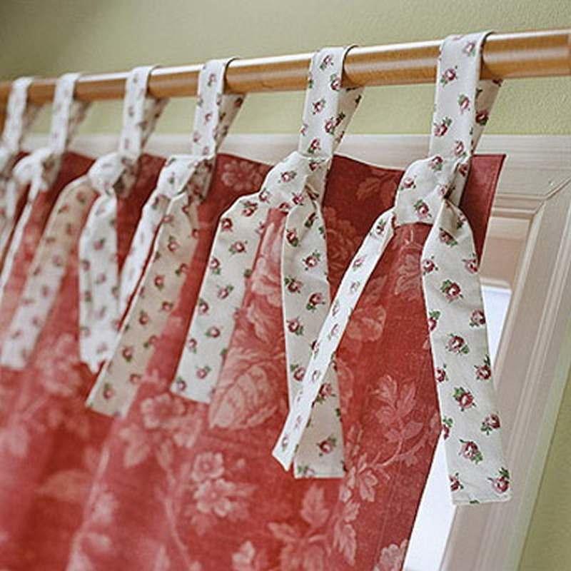 shtora-na-zavyazkah5 Как пошагово сшить шторы на кухню своими руками по выкройке?