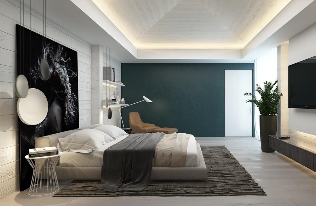 Прекрасным вариантом для спальни станет безкаркасная кровать с необычным дизайном