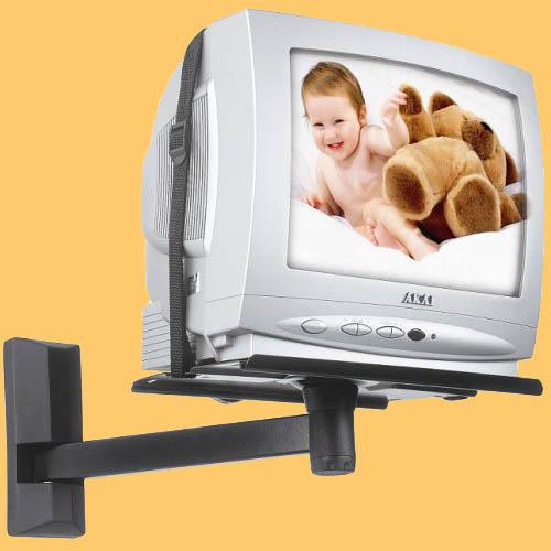 В качестве крепления телевизора на кухне можно использовать как полку, так и специальный кронштейн