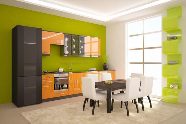 Казалось бы, такие разные цвета как зеленый и оранжевый несовместимы, но, при правильной расстановке акцентов, даже такая кухня может быть стильной