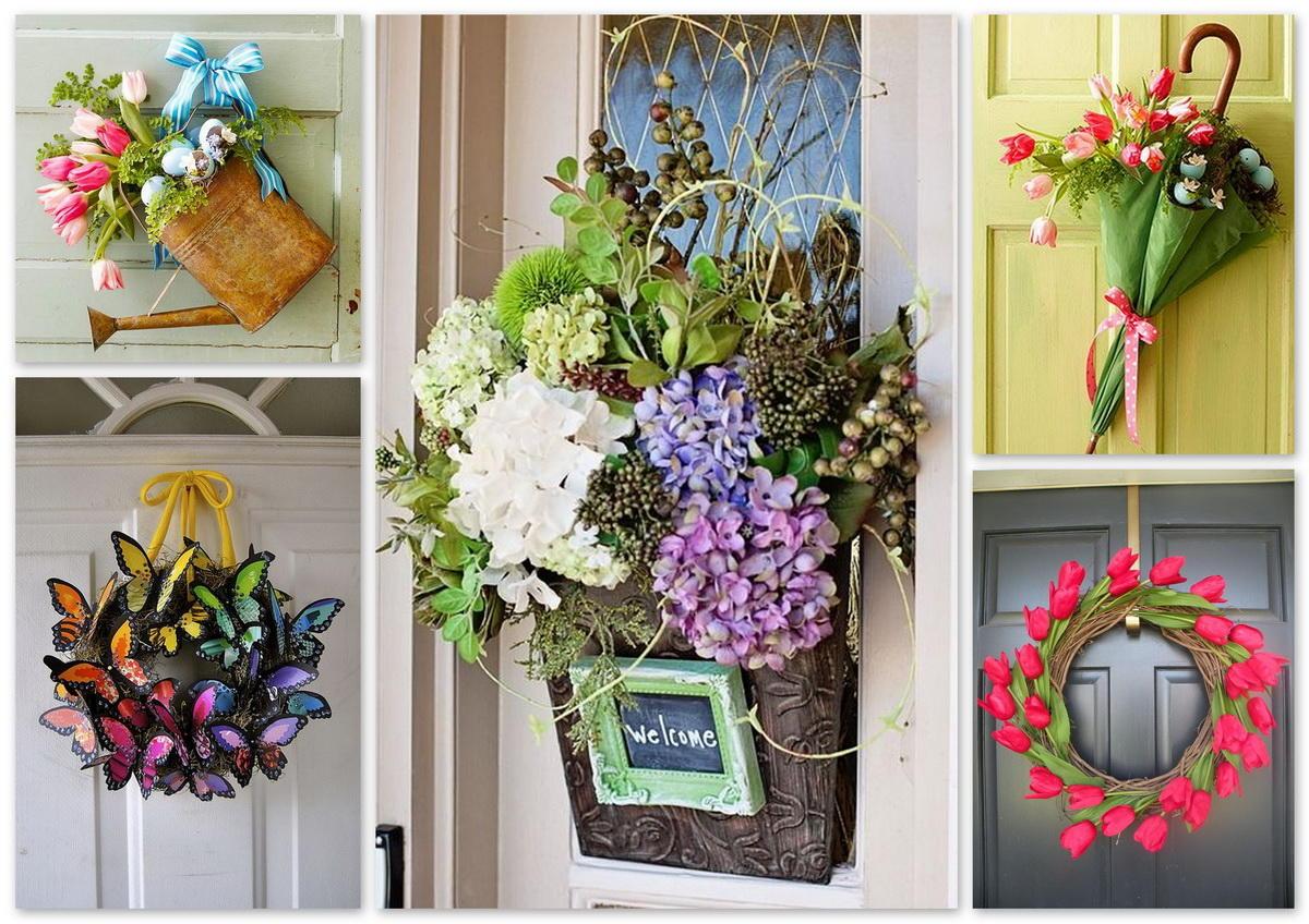 Для декорирования дверей можно использовать практически любую красивую вещь, которая есть у вас под рукой