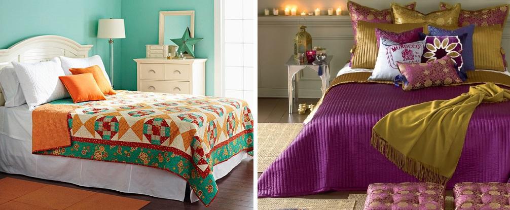 Яркие подушки и покрывала контрастных цветов подчеркнут гармонию и утонченность интерьера