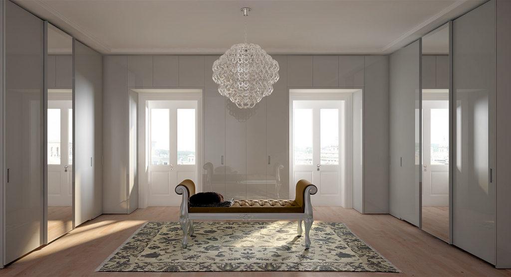 Лаконичные фасады гардеробной от FALMA ITALIA могут скрывать совершенно разное