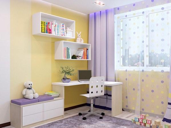 Угловой стол - хорошее решение в маленькой детской комнате