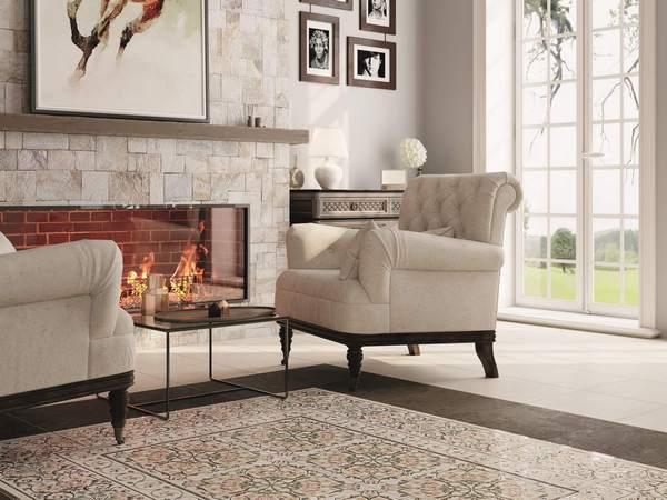 Керамическая плитка для облицовки каминов отличается высокой прочностью и огнеупорностью