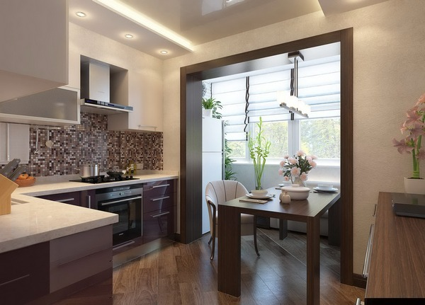 Увеличение площади кухни за счет балкона