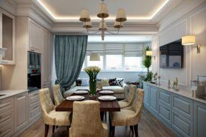 Вариант совмещения кухни с балконом