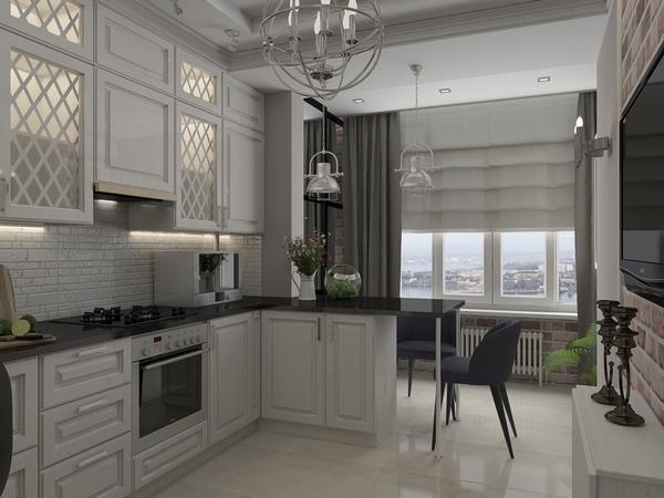 Если на кухне есть выход к балкону или лоджии, то это несказанное везение, ведь проявив немного фантазии пространство легко можно расширить.