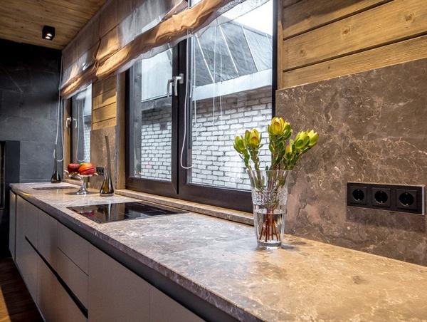 Кухонная столешница, фартук и подоконники из мрамора