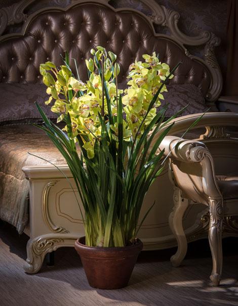 Искусственные растения в дизайне интерьера спальни