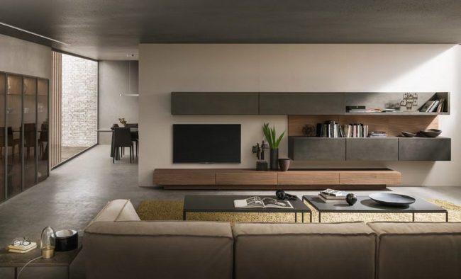 Интерьер масштабной гостиной в овременном стиле
