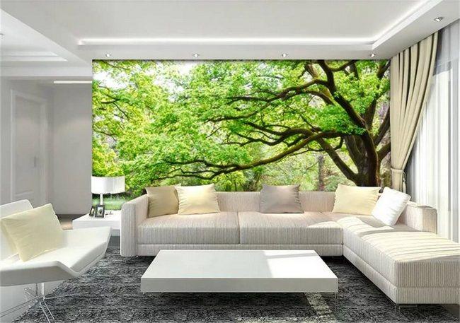 Фотообои природа в дизайне интерьера гостиной